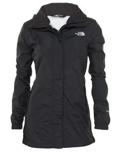 The North Face Resolve Parka Womens (X-Large, TNF Black). Waterproof, breathable, seam-sealed DryVentTM 2L shell with mesh drop lining. 100% windproof fabric. Attached, fully adjustable hood stows ~in collar. Encased elastic on back of waist for shaping. Stormflap with Velcro® closure covers center front zip.