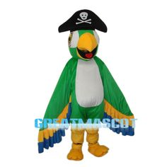 Mascot Costumes, Adult Costumes, Pirate Parrot, New Product, Pirates, Velvet, Bird, Free Shipping, Green