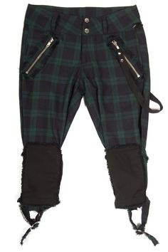 """LIP SERVICE Punk & Disorderly """"Dead And Ready Rawk Chick"""" capri pants #46-473 - blue-green plaid size 32"""