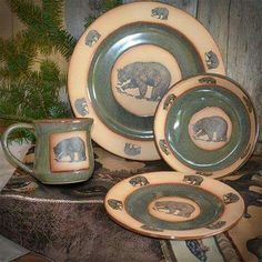 The Green Lodge Bears Dinnerware Set will beautifully upgrade your next dinner with the woodland inspired tones and wildlife charm of our rustic ... & Rustic Bear Dinnerware Set | Cute home items | Pinterest ...
