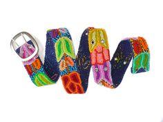 Blue Navy Wool Embroidered Belt, handmade belt, floral belts, belts, colorful belts, woman accessories