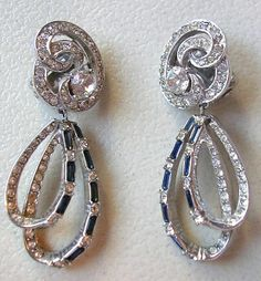 "1954 Boucher Dangling Blue/Clear Rhinestone Clip On Earrings 2 1/8"" Long"
