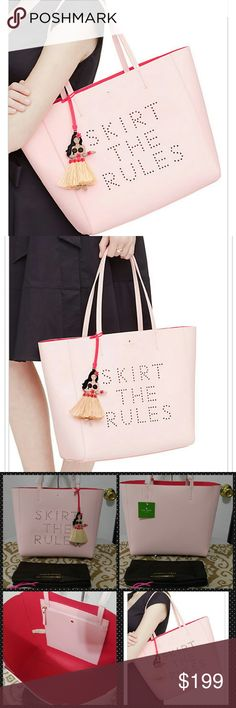 """Kate Spade Skirt The Rules Hallie Tote New w tags Kate Spade flights of fancy, skirt the rules, Hallie Tote. Urchin pink, comes with full sized dustbag  11.7"""" h x 12.5"""" w x 5.5"""" d Tote with open too Inside zip pocket  Hula dancer charm  14k gold plated hardware  Unlined  Double face crosshatched leather with matching trim  Gorgeous large tote!! So cute and a current style  No trades***** kate spade Bags Totes"""