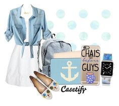 """""""Chais before guys. ☕"""" by casetify ❤ liked on Polyvore featuring Alice + Olivia, H&M, Casetify, Charlotte Olympia, Minnie Grace, BackToSchool, blueandwhite, summer2015 and fall2015"""