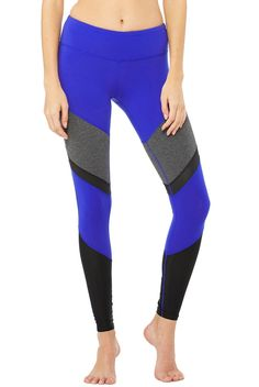 faf27ba8dfc64 Alo Yoga Sheila Legging in Deep Electric Blue and Stormy Heather Workout  Gear For Women,