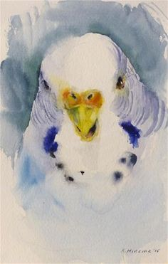 "Daily Paintworks - ""budgie3"" - Original Fine Art for Sale - © Katya Minkina"