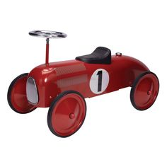 Make playtime speed along for your toddler with this classic red race car ride-on toy. Generously sized wheels make this ride-on toy easier for your toddler to push along on a variety of surfaces. Gen