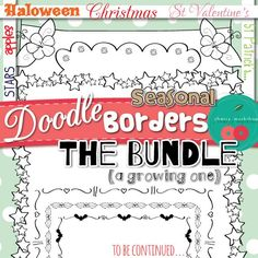 Borders Bundle - Seasonal Doodle Borders/ Frames in GROWING BUNDLE (meaning I'll be adding more but if you get it now you will be able to download all of the additions for free later) Christmas Borders, St Valentine's Day Borders, Halloween Borders, Apple Borders, Stars Borders, St. Patrick's Day Borders and more (coming soon) all in one set. Delicate borders for pages that take little space and print clearly using little ink. (scheduled via…