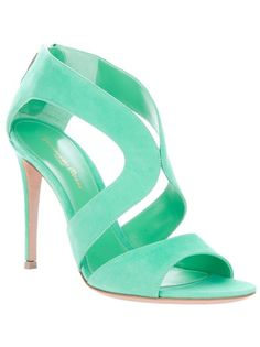 Mint green suede sandals from Gianvito Rossi featuring an open toe, a gold-tone zip closure at the back and a stiletto heel. Stilettos, Stiletto Heels, Sock Shoes, Shoe Boots, Shoes Heels, Crazy Shoes, Me Too Shoes, Christian Louboutin, Green Shoes