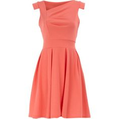 pleat-front coral skater dress