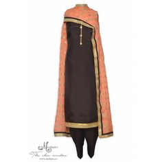 Elegant coffee brown unstitched suit featuring with zari work dupatta-Mohan's the chic window Pakistani Clothing, Pakistani Outfits, Designer Punjabi Suits, Indian Designer Wear, Trendy Collection, Designer Collection, Black Punjabi Suit, Girls Suit, Patiala Salwar Suits