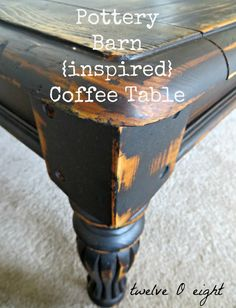 pottery bark, beforeandafter, knock off, painted table, table, coffee table, chalk paint, how to make chalk paint, homemade chalk paint