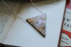 Rust Printed Flock Triangle Necklace by KatieBetty on Etsy, £7.00