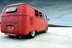 VW bus with rear safari on the salt