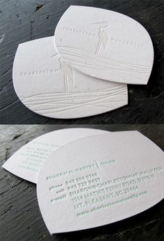 Beautiful Understated White On White Custom Die Cut Letterpress Business Card