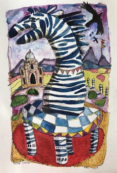 Watercolour Zebra in India 2018 Pieter Cronje Watercolour, Faces, African, India, Painting, Art, Pen And Wash, Art Background, Watercolor Painting