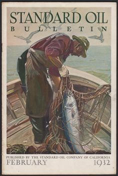 Maurice Logan cover Fishing industry  2/1/1932 Cover Design, Design Art, Standard Oil, Logan, Chevron, Illustration Art, California, February, Fishing