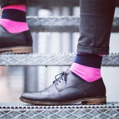 Dare to be different! Incorporate a touch of color into your #Tuxedo ensemble with neon socks! #TuxedoShoes