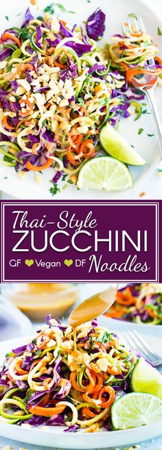 Thai Zucchini Noodle Salad With Cabbage Vegan Gluten Free - Fresh Crisp And Uberly Nutritious A Thai Zucchini Noodle Salad Makes The Perfect Healthy Lunch Or Potluck Recipe For The Warmer Spring And Summer Months This Cold Zucchini Noodle Salad Is Gluten Zucchini Noodles Salad, Veggie Noodles, Rice Noodles, Potluck Recipes, Vegetarian Recipes, Healthy Recipes, Vegetarian Lunch, Dairy Free Zoodle Recipes, Dairy Free Zucchini Recipes