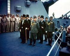 Surrender of Japan, Tokyo Bay, 2 September 1945 Japanese representatives on board USS Missouri during the surrender ceremonies. Complete caption at link. Hiroshima, Douglas Macarthur, Us Marines, Victory Over Japan Day, Palacio Imperial, Pearl Harbor Attack, History Online, Chief Operating Officer, Places