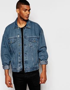 ASOS Oversized Denim Jacket In Dark Blue Wash