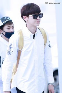 Chanyeol  - 140710 Taipei Airport, arrival from Incheon. Cute yet handsome! I love the gold touch from his backpack and glasses♥