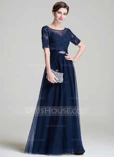 A-Line/Princess Scoop Neck Floor-Length Tulle Mother of the Bride Dress With Ruffle Beading Appliques Lace Sequins (008072701) - JJsHouse
