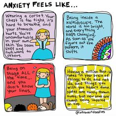 Attention anyone with anxiety who spent time in class with their head down doodling in a notebook: This is a comic series for you. - The comics show Marzi's understanding of how anxiety can make even the smallest things difficult.