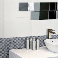 Tuscany White Gloss Rectified Wall Tile - Black And White Bathroom Ideas - White Tiles - Better Bathrooms Black And White Bathroom Floor, Black White Bathrooms, Gray And White Bathroom, White Bathroom Decor, Black And White Tiles, White Vanity Bathroom, Bathroom Red, White Home Decor, Bathroom Vanity Designs