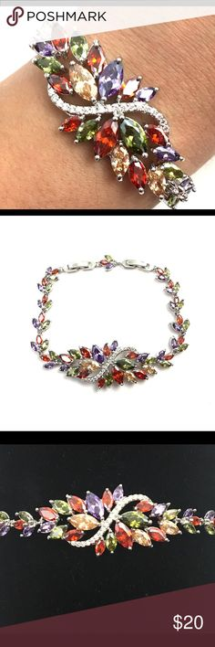 """Multicolor Crystal Cluster Floral Bracelet New gorgeous multicolor crystal cluster bracelet, silver plated, stamped 925; gorgeous bracelet, adjustable from 7-1/4"""" up to 8-1/2"""" (part of clasp can be removed if desired- see photos); Jewelry Bracelets"""