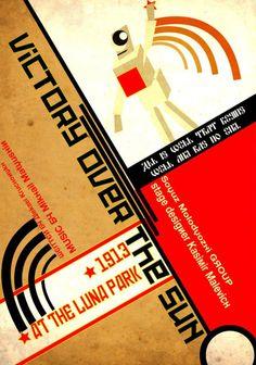 "Poster for ""Victory Over the Sun,"" Russian Futurist Opera by the Soyuz Molodyozhi collective: Kazimir Malevich, design; Aleksei Kruchenykh text; Mikhail Matyushin music, 1913."