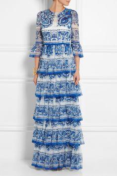 Dolce & Gabbana|Robe longue du soir en mousseline de soie imprimée à volants|NET-A-PORTER.COM