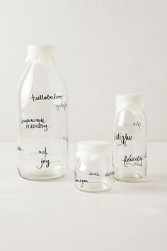 Glass Dairy Bottle #anthropologie.  they also have round cork bottle stoppers and other bottles.  great for homemade nut milk and juicing.