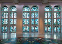 Huge stained glass project! What do you think of the colours? I like the fact that they're subtle and don't overwhelm the space. Studio Jobs Futopia Faena exhibition includes stained glass windows and a roller disco
