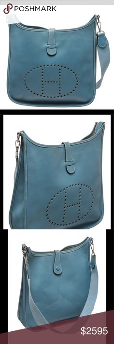 Hermes Blue Jean Courchevel Evelyne I GM Handbag Blue Jean Courchevel leather Hermes Evelyne I GM with silver-tone hardware, single flat shoulder strap, perforated H logo at front, tonal suede lining and snap closure at back. 760 NC Hermes Bags Shoulder Bags