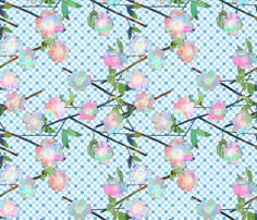 Painted Cut Paper Pink and Blue Dogwood Blossoms on Gingham Large fabric by bloomingwyldeiris on Spoonflower - custom fabric