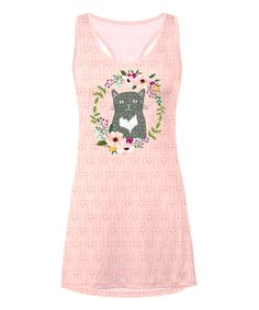 Take a look at this Light Pink Hipster Cat T-Back Nightgown - Plus Too today!