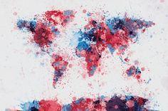 Verdenskort med penselstænk Fotografisk tryk