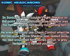 ☆ Sonic Headcanons ☆ What????!!! So wait....If Shadow is Silvers dad...who's the mom 0.0