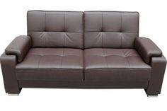 Sofá cama sistema clic clac en piel textil chocolate y blanco.: Amazon.es: Hogar