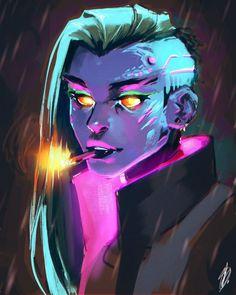 Cyberpunk girl smoking a cigarette in the rain