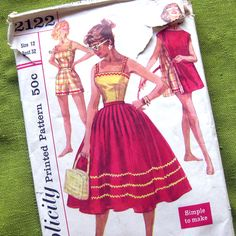 1950s Vintage Sewing Pattern  Shorts Camisole Top by SelvedgeShop, $22.00