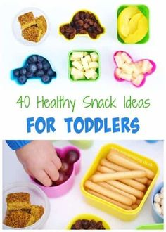 40 healthy snack ideas for toddlers from Eats Amazing UK - loads of kids food ideas to pack for on the go