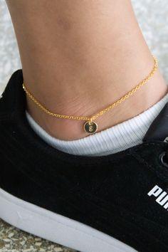 Gorgeous Personalized Disc Anklet in Gold, Silver or Rose Gold Slave Bracelet, Heart Bracelet, Gold Anklet, Anklets, Etsy Jewelry, Jewelry Stores, Jewellery, Or Rose, Rose Gold
