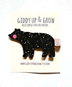 Felt Hair Clips - Glitter Bear Hair Clip, Giddy Up and Grow
