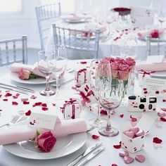 Silk Pink Roses Table Decor