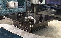 Coffee Tables & Cocktail Tables - MACASSAR EBONY ARCHITECTURAL PROFILED COCKTAIL TABLE ART AT542