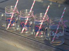 glass mason mugs mason tumbler mason cup by ShopAroundTheCorner3