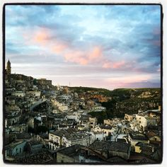 Sassi Caveoso at sunset, Matera Italy
