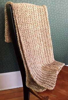CROCHET BULKY handmade afghan blanket throw adult child acrylic wool SAND beige #handmade #homespun